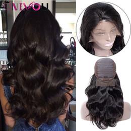 Productos para el cabello de las mujeres negras online-OnlyouHair Products Body Wave Lace Front Pelucas de cabello humano para mujeres negras 130% Densidad Brasileña Virgen Remy Cabello Gorra ajustable Pelucas negras