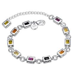 silber armband frauen einfache verschluss Rabatt Garilina Fashion Square Farbe Stein Armband einfache geometrische Silber Karabinerverschluss Armband für Frauen B2038