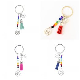 Wholesale Silver Round Beads Rings - Rainbow Seven Colorful Bead Keys Ring Beautiful Tassels Lotus Flower Key Buckle Yoga Fans Gift Keychain Metal Design Charms New 3 2mq Z