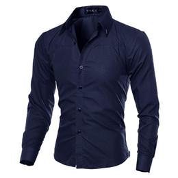 2017 Camicie Casual Moda Uomo Camicia A Maniche Lunghe plaid camisa masculina Camicia Uomo Camicia di Colore Solido Maschio Marchio di Abbigliamento M-5XL C1 Y1892102 da camicia baggy all'ingrosso fornitori