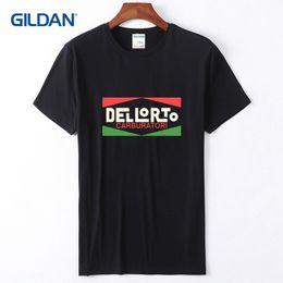 diseño especial camisetas Rebajas Plain Black Tee Shirt Mens 2018 Vintage Dellorto Motocicleta italiana Mot Mot Tees Diseño para hombres especiales Plain Tshirts