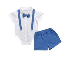 Wholesale newborn baby clothing for boys - Baby Romper Summer Boy Suit Set 2018 Fashion Bow Tie Shirt Shorts Baby Clothes Set for Newborn Short Outfits 3-24M Kids Clothing
