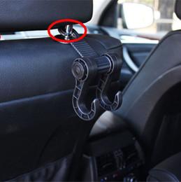 Wholesale Car Hook Holders Hangers - Auto Car Back Seat Hanger Black hook Headrest Holder Hook Bag Purse Cloth Grocery Bag Holder Hanger Clip with Hook FFA113 25PCS