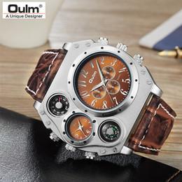 371cef0785f Homens relógios de Quartzo Esportes Pulseira de Couro multi zona do tempo  grande rosto Relógios Moda Masculina Militar Relógio de Pulso de Moda  Relógio ...