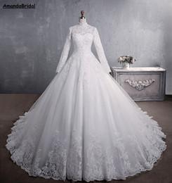 hijab rendas vestido de noiva de tule Desconto Amandabridal Tulle Appliqus Vestido De Noiva Barato vestido de Baile Princesa Rendas Vestido de Casamento Muçulmano Manga Longa Do Vintage Hijab Alta Neck Vestido de Noiva