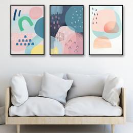 2019 modernen abstrakten kunstmalereien kreise Nordischen Stil Abstrakte Poster Druck Dekoration Wohnzimmer Bunte Kreis Geometrie Gemälde Moderne Leinwandbilder Wandkunst günstig modernen abstrakten kunstmalereien kreise