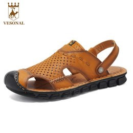 Wholesale T Back For Men - VESONAL Brand Homme Sandals And Slippers Men 2017 Summer Genuine Leather Soft Sandale Male Beach Handmade For Mens Casual Shoes