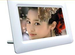 Wholesale Flash Alarm Clock - 7Inch TFT LCD Digital Photo Movies Frame Wide Screen Desktop With LED Light Flash MP3 MP4 Player Alarm Clock