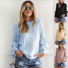 Wholesale Elegant Blue Blouse - Women Blouses Shirts 2018 Autumn Elegant Ladies O-Neck Flounce Long Sleeve Solid Blusas Casual Loose Tops