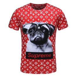 Wholesale Mens Plain Clothing - Men's Clothing T-shirts Dog With Glasses Printed Mens Square T Shirts For Short Sleeve Casual Slim Fit Tops Plain Fashion Tshirts
