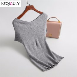Verano 2018 mujeres suéter de punto camiseta elegante grande con cuello en V  de manga corta Casual delgado sólido prendas de punto Tops P2154 5e1371337556