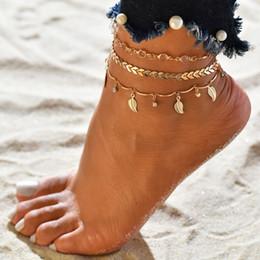 Böhmische fußkettchen für frauen online-Mehrschichtige Blätter Anhänger Fußkettchen Fußkette für Frauen Böhmische handgemachte Perlen Gothic Boho Fußkettchen Fußschmuck Großhandel