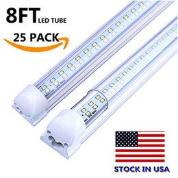 25 pcs Integrado T8 Tubo de Luz Dupla linha 4ft 5ft 6ft 8ft Dual row Cooler Iluminação Led Luzes Tubos AC85-265V Com Todos os acessórios cheap dual cooler de Fornecedores de refrigerador duplo