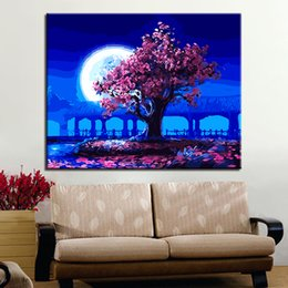 Wholesale Moon Cartoon Pictures - Handpainted Romantic Moon Night Pink Tree Landscape Oil Pictures DIY Painting By Numbers Kits Coloring On Canvas Wall Art Decor