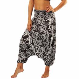 Pantalon d'éléphant en Ligne-Pantalons de yoga sarouel lâches de femmes sarouel à la taille Smoked Aladdin Genie Drop pantalons de palazzo Parachute thai éléphant de plage
