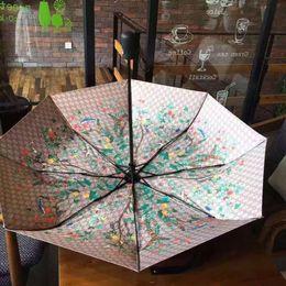 fiore abbigliamento all'ingrosso Sconti Moda modello classico Camelia Fiore logo Ombrello per donna 3 Piega moda ombrello con confezione regalo e borsa Ombrello pioggia regalo VIP G45