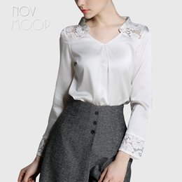 Wholesale white silk blouse xs - Elegant hollow out lace spliced office ladies natural silk tops and blouses black white real silk shirt tops camisa blusa LT1980