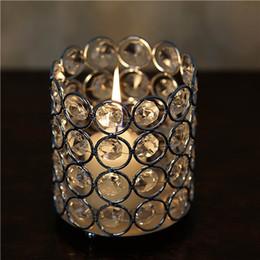 """Porta candela cilindro in cristallo online-Perline di cristallo Holder Cilindro votiva Tealight candela di cristallo Wedding -SILVER 2.75 """"alto o 3,5"""" alto"""