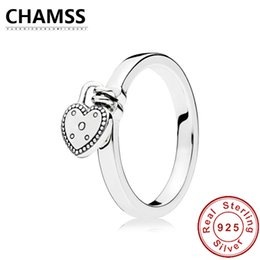 amore anelli di serratura Sconti CHAMSS NEW 100% 925 Sterling Silver LOVE LOCK RING Anello Love Heart Original Vintage Jewelry All'ingrosso 196571