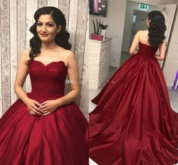 Wholesale pictures red hearts - Elegant Burgundy Ball Gown Prom Dresses Sweet Heart Sweep Train Lace Top Long Prom Party Graduation Wear Gowns For Sweet 15