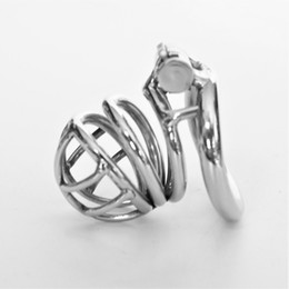 Wholesale Mens Chastity Cages - 2018 Male Chastity Devices Metal Mens Small Cock Cage Stainless Steel Penis Restraints Locking Cock Ring BDSM Bondage