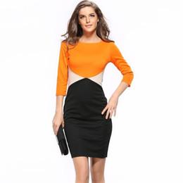 Сексуальные платья для женщин офиса онлайн-Карандаш Женщины Dress 2017 Новая Мода Лоскутное Плюс Размер Sexy Office Удобные Шелковые Bohominan O-Образным Вырезом Три Четверти Карандаш Dress