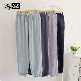 Wholesale Womens Cotton Pajamas - Wholesale-2017 Spring sexy womens sleep bottoms fresh soft 100% cotton home trousers for women lovers pajamas pants couples trousers women