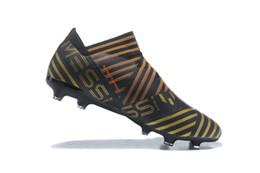 Wholesale soft soccer balls - 2017 New Nemeziz 17+ 360 Agility FG Men Football Shoes Brand New High - Level Bandage TPU Black TPU Nail-ball Mens Soccer Shoes