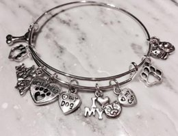 Wholesale Vintage Halloween Cat - Vintage Silver Dog Paw Print I Love My Cat Dog Bones Heart Charm Cuff Wedding Bangles Expandable Wire Bracelets For Women Jewelry NEW