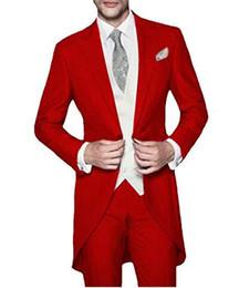 estilos de traje de fiesta Rebajas Elegante Red Tailcoat Novios Tuxedos Estilo de la mañana Hombres Boda Tuxedos Hombres de alta calidad Formal Prom Party Suit (Jacket + Pants + Tie + Vest) 1771