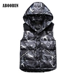 Wholesale Mens Vest Patterns - ABOORUN 2017 Mens Camouflage Hooded Vest Winter Slim Sleeveless Jacket Men Casual Waistcoat S-3XL W2196