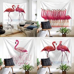 Wholesale patterned bath mats - Superfine Fiber Beach Towel Comfortable Rectangle Printing Flamingo Pattern Tapestry Outdoor Sport Fitness Yoga Mat Top Quality 20ma CB