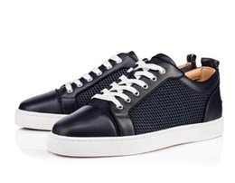 Chaussures de navigation gratuite en Ligne-Baskets basses bleu marine rouges Baskets basses pour hommes Casual Chaussures Junior Orlato Men Sneaker en filet plat