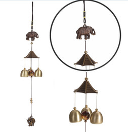 Wholesale Hanging Chimes - Wall Hanging Winds Bell For Courtyard Bedroom Decor Retro Creative Ornaments Coppery Color Elephant Design Wind Chime High Quality 6 5bza Z