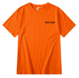 Hommes, femmes, couple, chemises en Ligne-424 Rose Noire T-shirts Hip Hop Streetwear Vêtements Tops Crew Neck Orange Mâle Femme Couples Tee