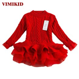 Wholesale Thick Girl Wedding Dresses - Thick Warm Girl Dress Christmas Wedding Party Dresses Knitted Chiffon Winter Kids Girls Clothes Children Clothing Girl Dress