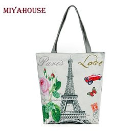 Wholesale Champagne Towers - Hot Sale Women Canvas Tote Paris Tower Print Female Shoulder Bags Canvas Beach Bag For Girls Single Shopping Bags Bolsa Feminina