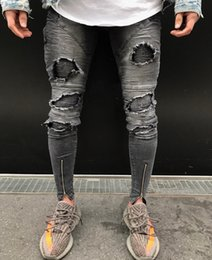 Wholesale Jeans Pant Folding - New Spring Fold Mens Jeans Fashion Zipper Hole High Street Style Slim Feet Trousers Mens Motorcycle Pants