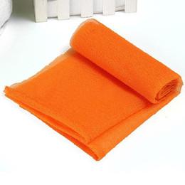 scrub arancione Sconti Hot Exfoliating Nylon Bath Shower Massaggio del corpo Pulizia Lavaggio Asciugamano in tessuto Asciugamano Assistenza sanitaria Hot Orange