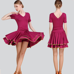 Wholesale Latin Salsa Ballroom Dress - Hot Sale Adult Latin Dance Dress Salsa Tango Chacha Ballroom Competition practice Dance Dress Sexy V Collar Short Sleeve Dress 3Color S-2XL