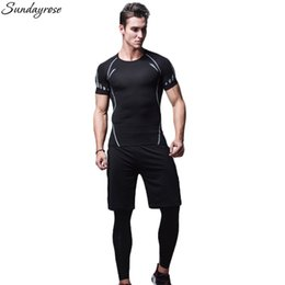 Wholesale Fitness Professional Shirts - 3 Pieces Professional Compression Sport Suit Elastic Brand Men's T-Shirt+Leggings Workout Gym Fitness Tracksuit Running Sets Man