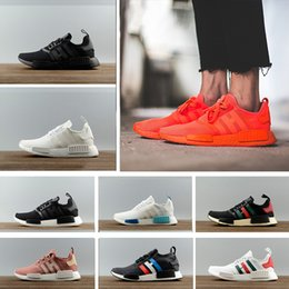 Wholesale Fall Knitting - 2018 NMD Runner R1 Primeknit OG Black black blue red Nice Kicks Circa Knit Men Women Running Shoes Sneakers Classic sports Shoes eur36-45