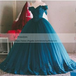 Wholesale empire waist off shoulder dress - 2018 Hunter Off The Shoulder Lace Appliques Quinceanera Dresses Empire Waist Ball Gown Puffy Tulle Formal Occasion Dresses Custom Made
