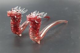 Dragão dragão on-line-24 cm Tubo De Mão De Vidro Dragão Cabeça Shap Hookah Tubos de Água para fumar colher de vidro dragão tubulação de água preferencial modelagem de som bubbler pipe