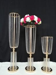 Wholesale Acrylic Crystals Wedding Decor - 2018 luxury tall acrylic crystal wedding road lead props wedding table centerpieces event party decor wedding aisle walkway flower vase