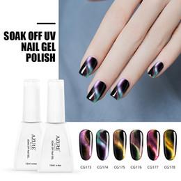 Wholesale nail gel polish magnetic - Azure Beauty 6Pcs Newest Chameleon Magnetic Nail Gel Polish 12ML For Nail Art Design Double Color 3D Cat Eye Effect Shiny Color Nail Gel
