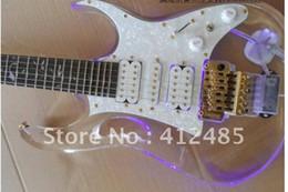 Wholesale transparent v string - Free shipping 7 v electric guitar crystal guitar transparent Crystal glass transparent Electric Guita with LED Blue light