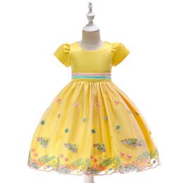 Bebé caliente 3-8T Niñas Vestidos bordados de verano Hasta la rodilla plisada Princesa Vestido Rosa Color amarillo Partido de encaje Tutu ropa desde fabricantes
