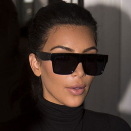 women brand famous sunglasses Promo Codes - HapiGOO Famous Celebrity Italy Brand Designer Kim Kardashian Square Sunglasses Women Vintage Flat Top Sun Glasses For Female