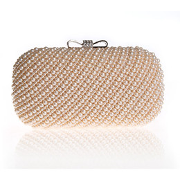 Wholesale Beige Bow Clutch - 2017 Fashion Women Clutches Bags Ladies Evening Bag Wedding Female Beaded Clutch Diamond Bow Clasp Handbag Purses bolsa feminina